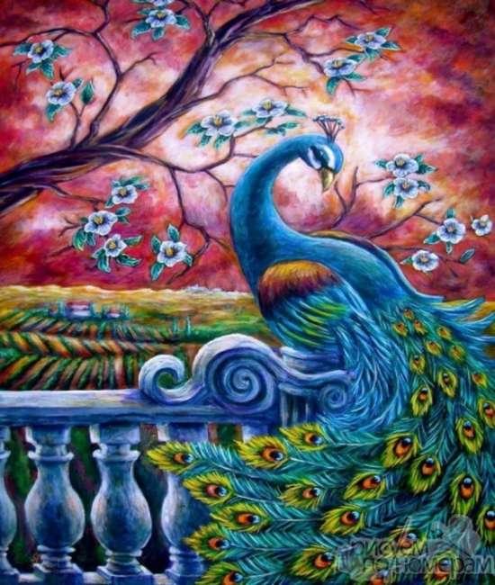 Картина по номерам 40x50 Шикарный павлин