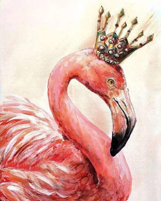 Картина по номерам 40x50 Розовый фламинго в красивой короне