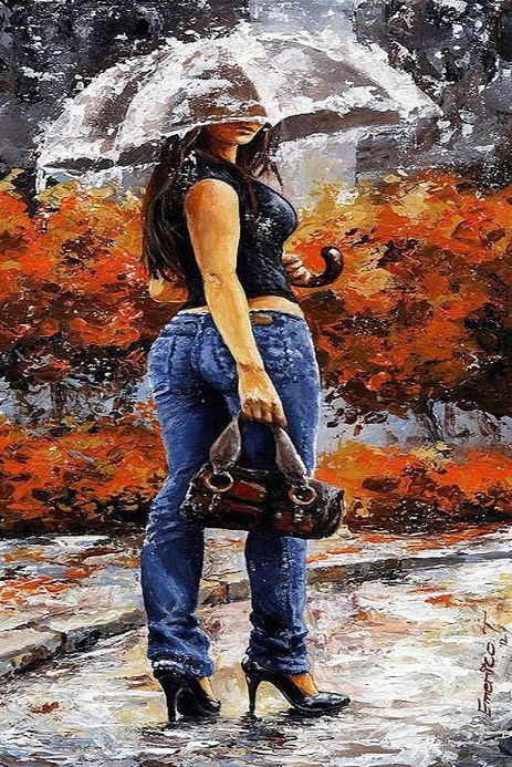 Картина по номерам 40x50 Девушка под прозрачным зонтом